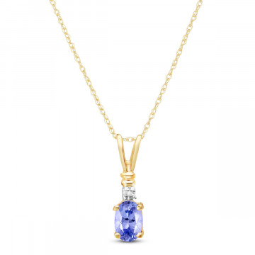 Tanzanite & Diamond Cap Oval Pendant Necklace in 9ct Gold