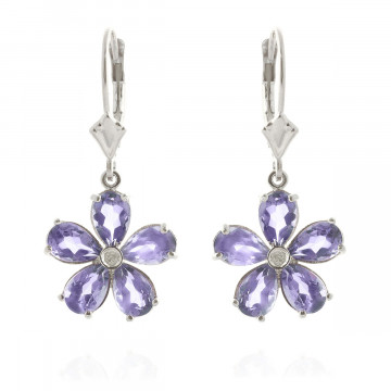 Tanzanite & Diamond Flower Petal Drop Earrings in 9ct White Gold