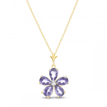 Tanzanite & Diamond Flower Petal Pendant Necklace in 9ct Gold