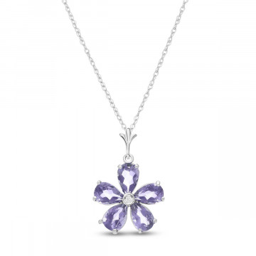 Tanzanite & Diamond Flower Petal Pendant Necklace in 9ct White Gold