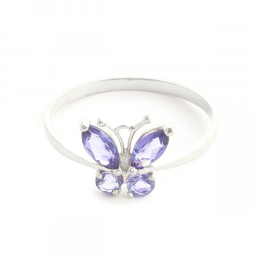 Tanzanite Butterfly Ring 0.6 ctw in 9ct White Gold