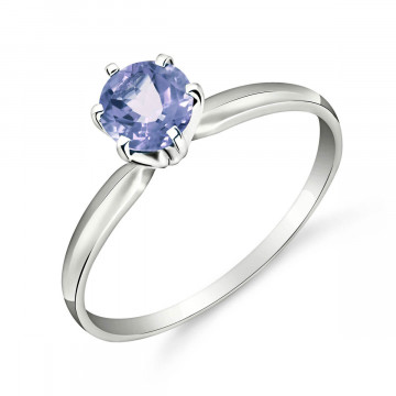 Tanzanite Crown Solitaire Ring 0.65 ct in 9ct White Gold