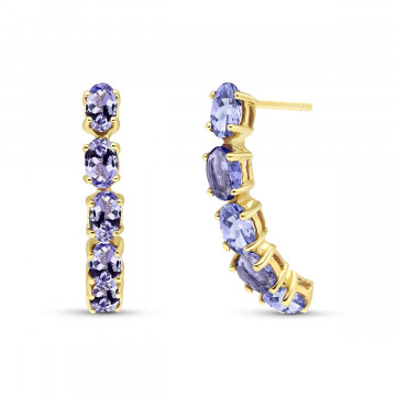 Tanzanite Linear Stud Earrings 2.5 ctw in 9ct Gold
