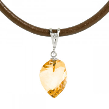 Twisted Briolette Cut Citrine Pendant Necklace 11.76 ctw in 9ct White Gold