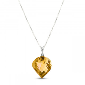 Twisted Briolette Cut Citrine Pendant Necklace 11.8 ctw in 9ct White Gold