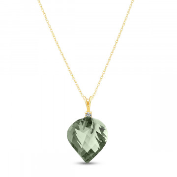 Twisted Briolette Cut Green Amethyst Pendant Necklace 13.05 ctw in 9ct Gold