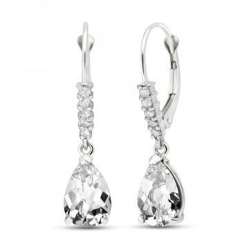 White Topaz & Diamond Belle Drop Earrings in 9ct White Gold