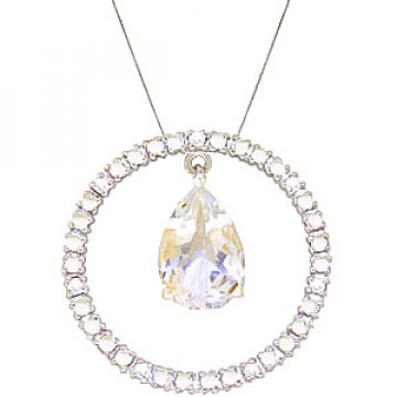 White Topaz & Diamond Circle of Life Pendant Necklace in 9ct White Gold