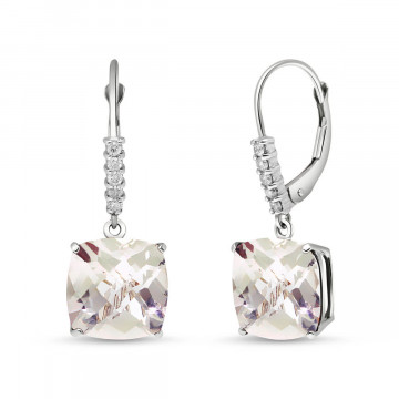 White Topaz & Diamond Rococo Drop Earrings in 9ct White Gold