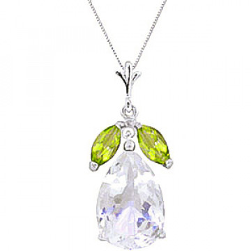 White Topaz & Peridot Pear Drop Pendant Necklace in 9ct White Gold