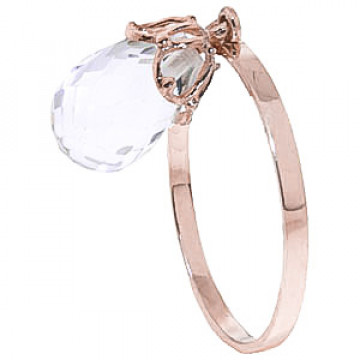 White Topaz Crown Ring 3 ct in 9ct Rose Gold