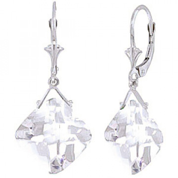 White Topaz Deflection Drop Earrings 17.5 ctw in 9ct White Gold