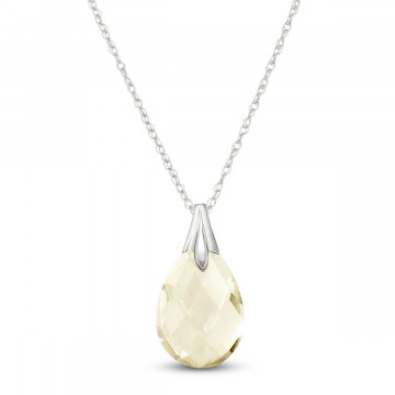 White Topaz Dewdrop Pendant Necklace 3 ct in 9ct White Gold