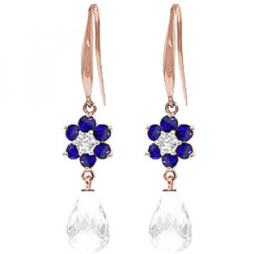 White Topaz, Diamond & Sapphire Daisy Chain Drop Earrings in 9ct Rose Gold