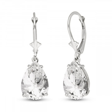 White Topaz Drop Earrings 10 ctw in 9ct White Gold