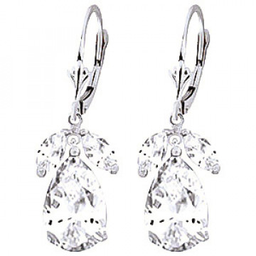 White Topaz Drop Earrings 13 ctw in 9ct White Gold