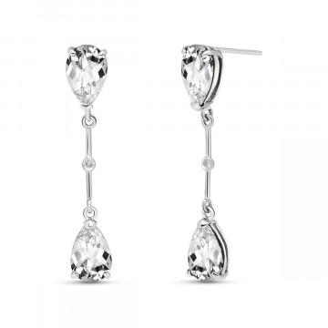 White Topaz Drop Earrings 6.01 ctw in 9ct White Gold