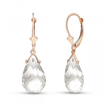 White Topaz Droplet Earrings 10.2 ctw in 9ct Rose Gold