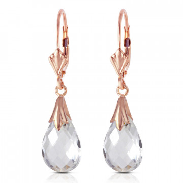 White Topaz Droplet Earrings 6 ctw in 9ct Rose Gold