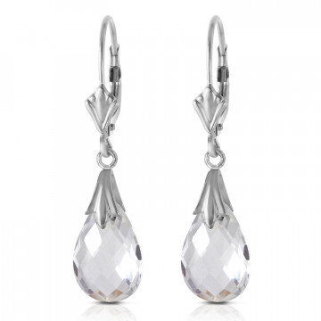 White Topaz Droplet Earrings 6 ctw in 9ct White Gold