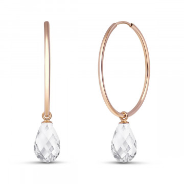 White Topaz Halo Earrings 4.5 ctw in 9ct Rose Gold