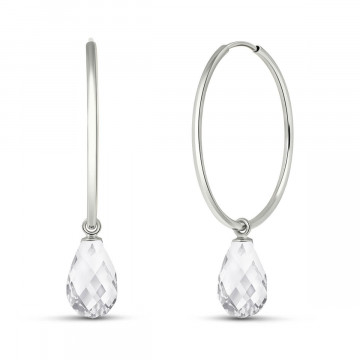 White Topaz Halo Earrings 4.5 ctw in 9ct White Gold