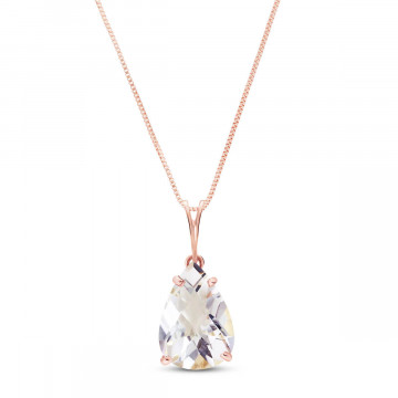 White Topaz Pear Drop Pendant Necklace 5 ct in 9ct Rose Gold