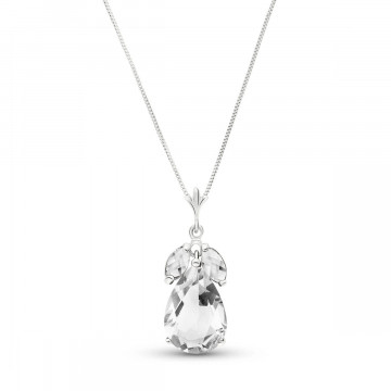 White Topaz Pear Drop Pendant Necklace 6.5 ctw in 9ct White Gold