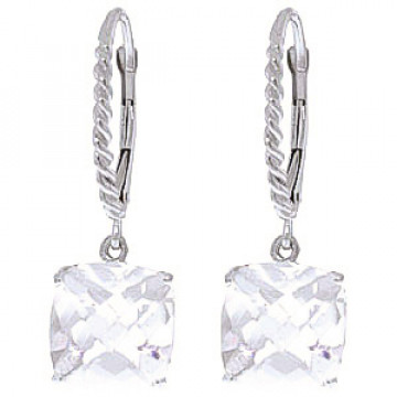 White Topaz Rococo Twist Drop Earrings 7.2 ctw in 9ct White Gold