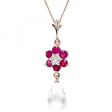 White Topaz, Ruby & Diamond Flower Pendant Necklace in 9ct Rose Gold