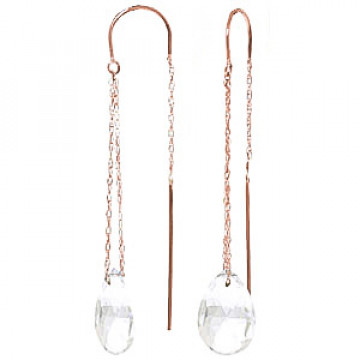 White Topaz Scintilla Earrings 6 ctw in 9ct Rose Gold