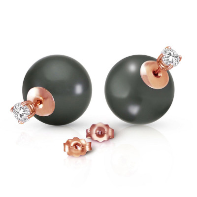 a98ffb8cb Black Pearl & Diamond Shell Stud Earrings in 9ct Rose Gold