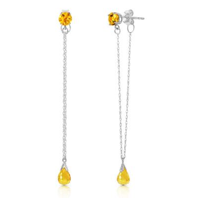 3172d94af106 Citrine Monte Carlo Drop Earrings 3.15 ctw in 9ct White Gold