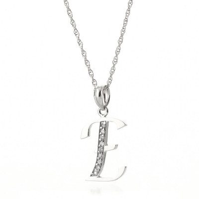 Briolette cut diamond necklaces pendants qp jewellers diamond letter initial e pendant necklace in 9ct white gold aloadofball Images