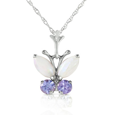 White gold opal necklaces pendants qp jewellers opal tanzanite butterfly pendant necklace in 9ct white gold aloadofball Images