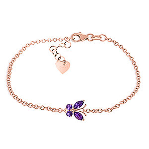 Amethyst Adjustable Butterfly Bracelet 0.6 ctw in 9ct Rose Gold