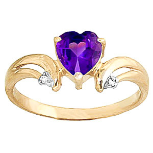 Amethyst & Diamond Affection Heart Ring in 9ct Gold