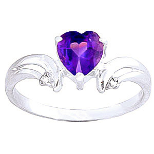 Amethyst & Diamond Affection Heart Ring in 9ct White Gold
