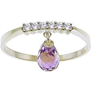 Amethyst & Diamond Band in 9ct White Gold