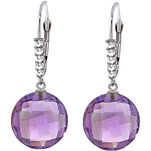 Amethyst & Diamond Chequer Drop Earrings in 9ct White Gold