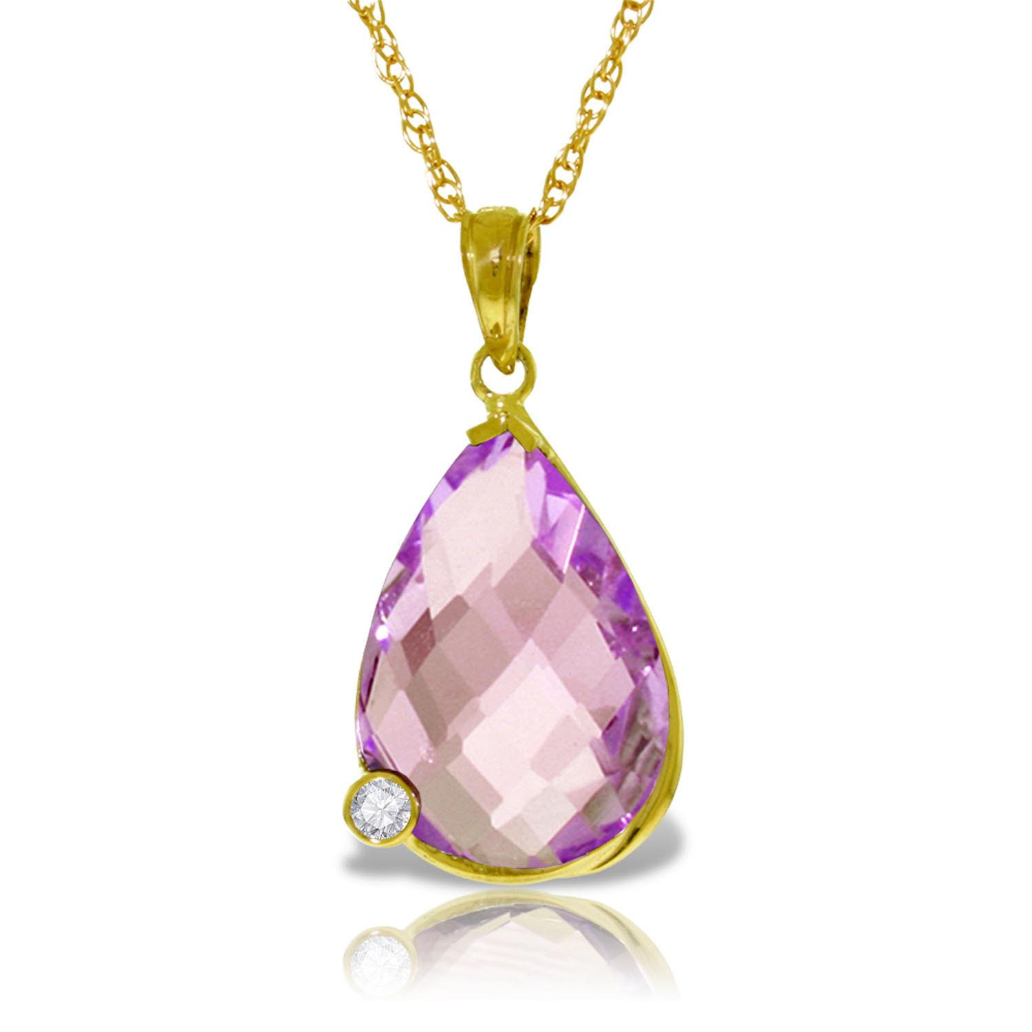 Amethyst & Diamond Chequer Pendant Necklace in 9ct Gold