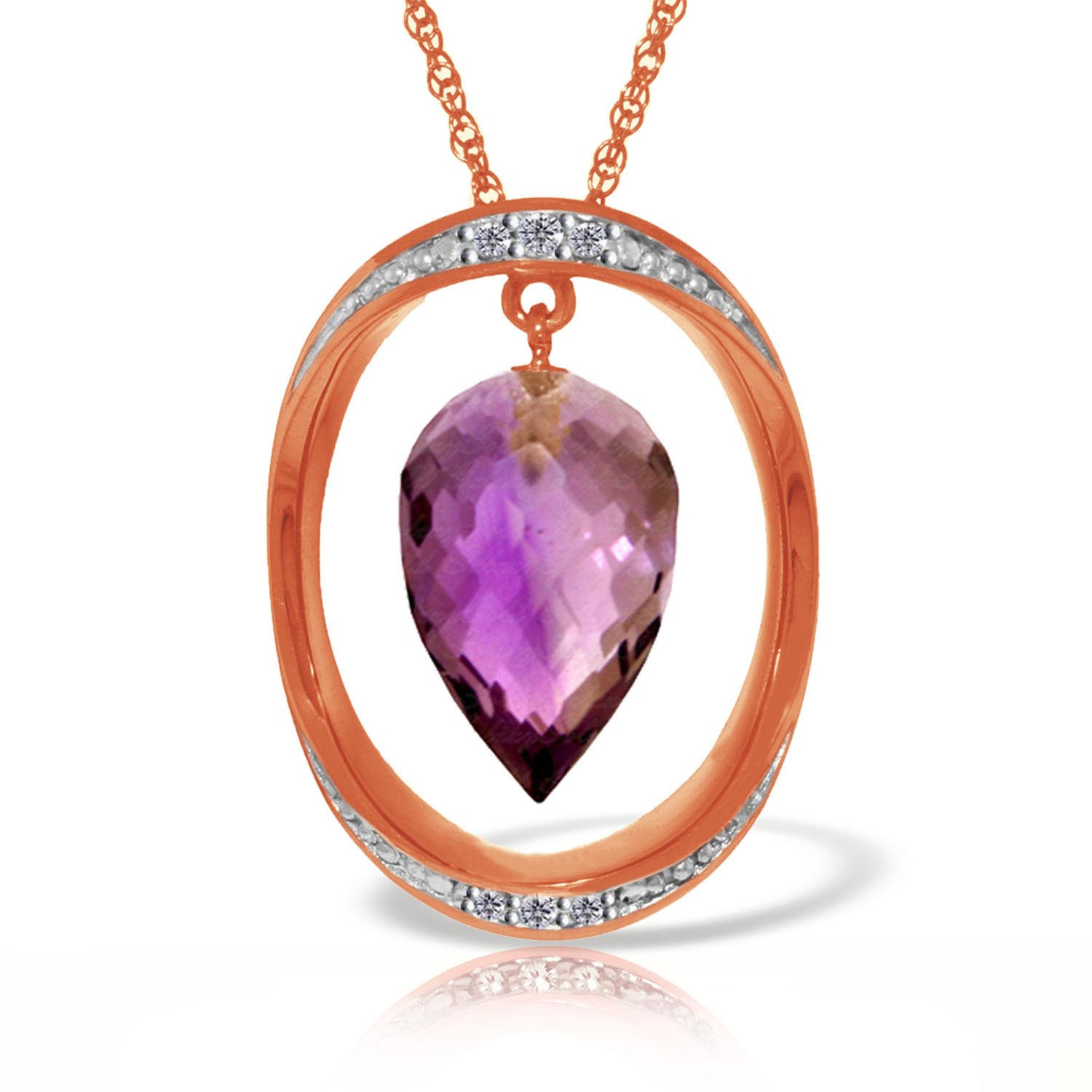Amethyst & Diamond Drop Pendant Necklace in 9ct Rose Gold
