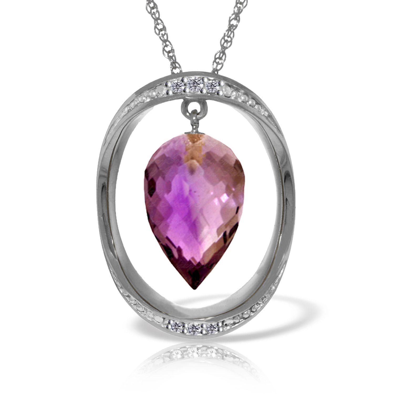 Amethyst & Diamond Drop Pendant Necklace in 9ct White Gold