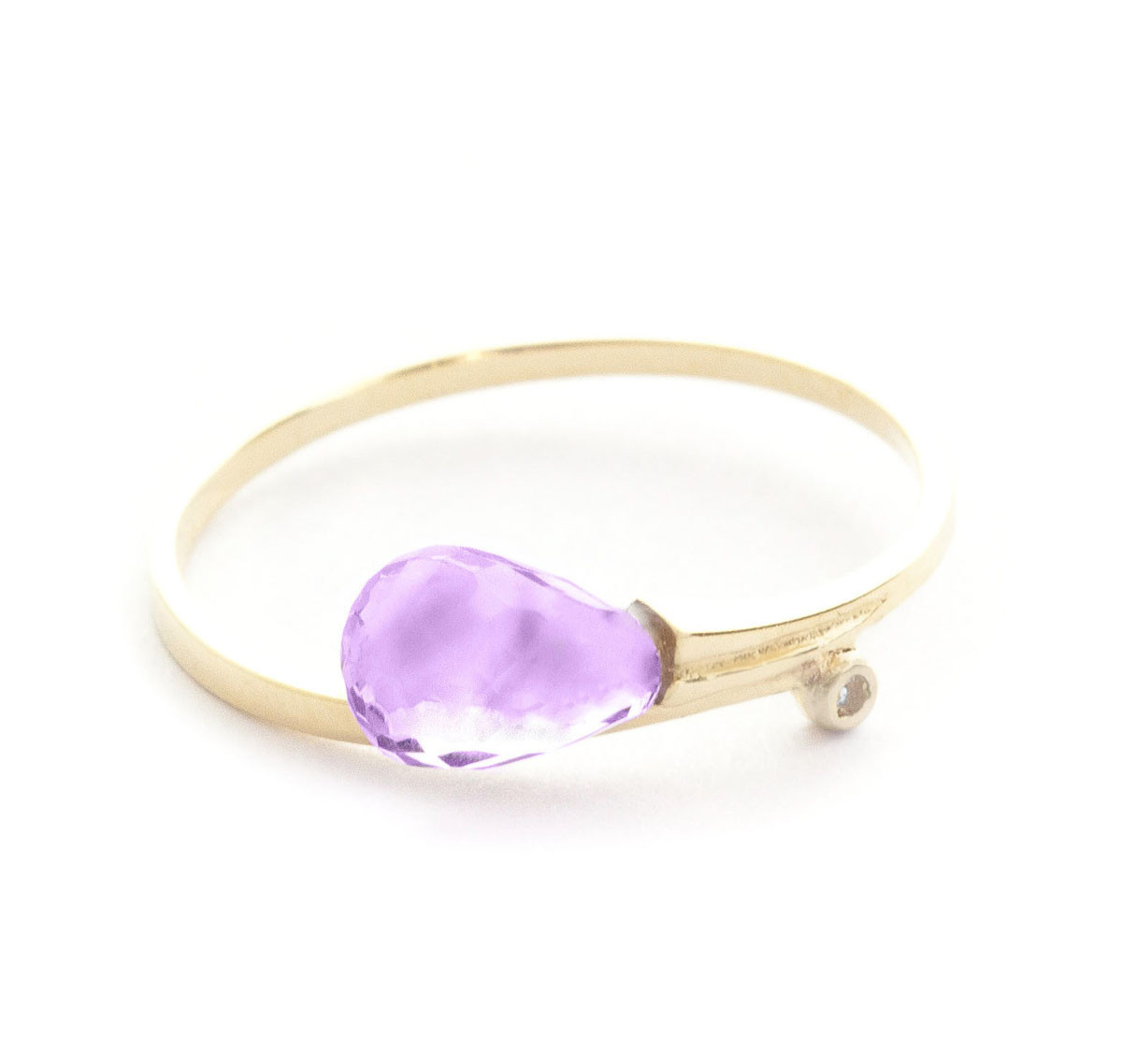 Amethyst & Diamond Droplet Ring in 9ct Gold
