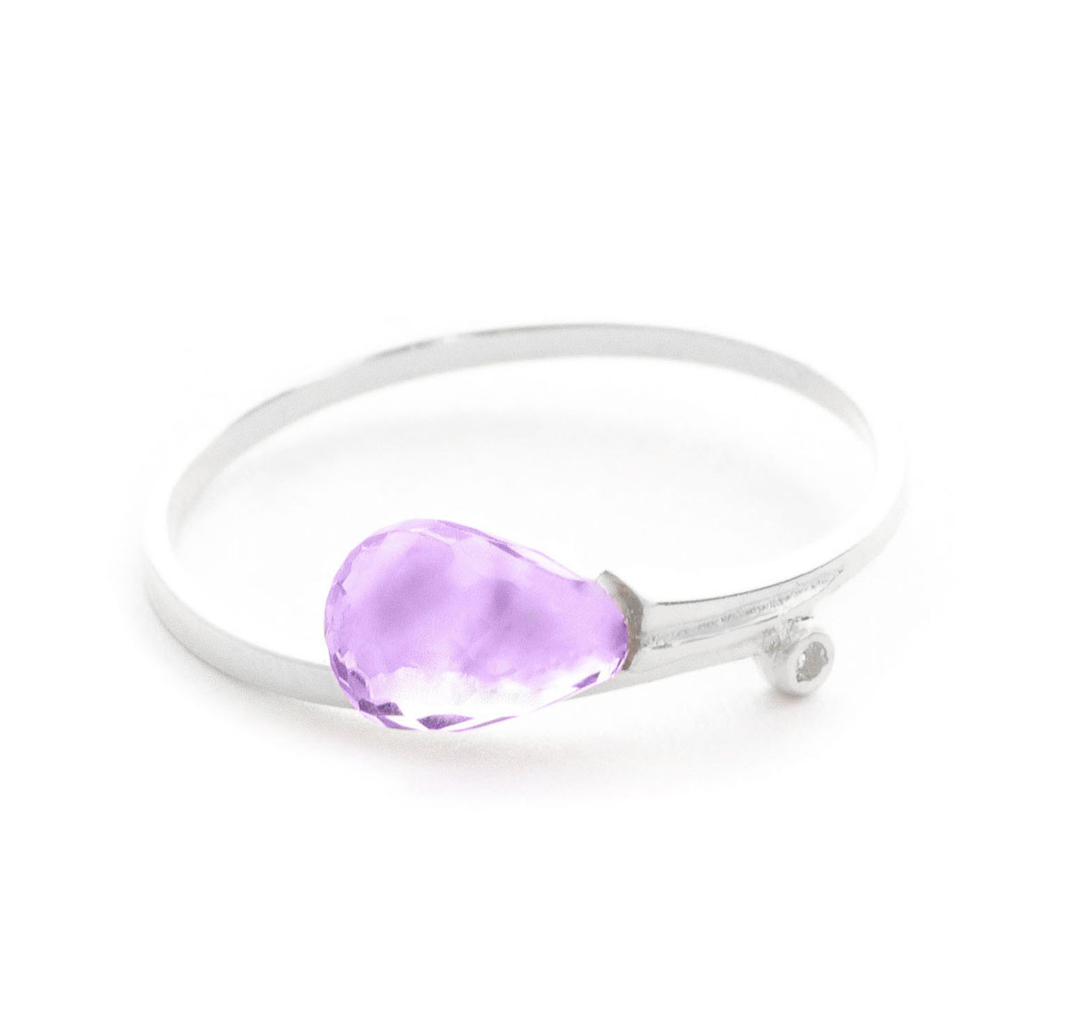 Amethyst & Diamond Droplet Ring in 9ct White Gold