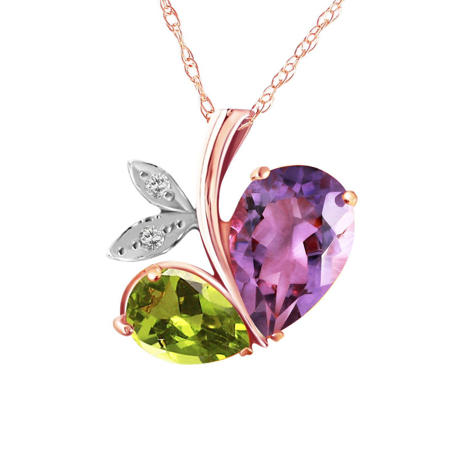 Amethyst & Diamond Eternal Pendant Necklace in 9ct Rose Gold