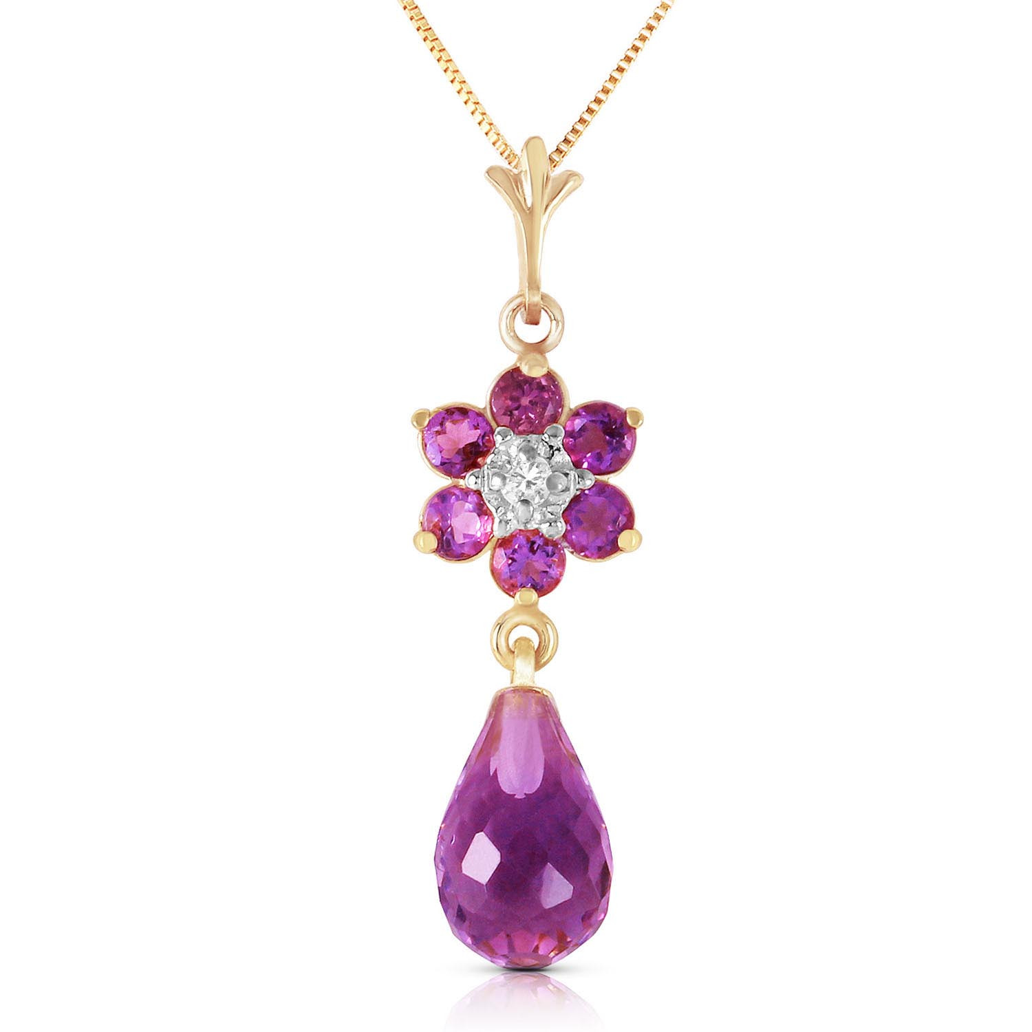 Amethyst & Diamond Flower Pendant Necklace in 9ct Gold
