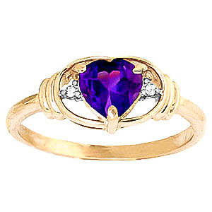 Amethyst & Diamond Halo Heart Ring in 9ct Gold