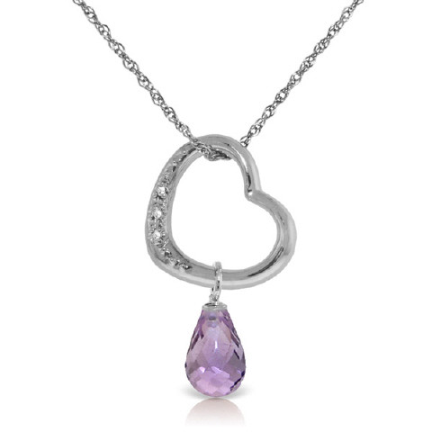Amethyst & Diamond Heart Pendant Necklace in 9ct White Gold