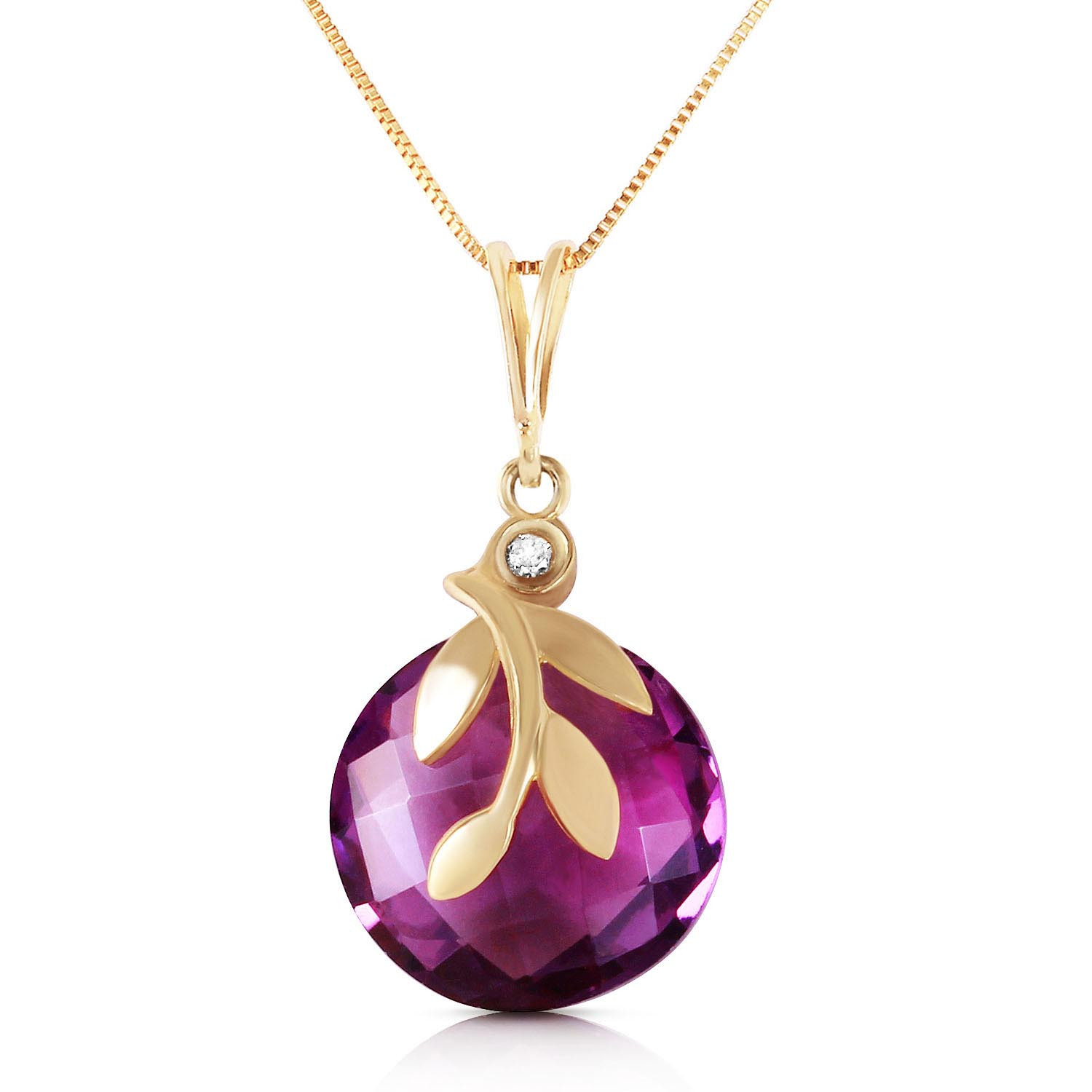 Amethyst & Diamond Olive Leaf Chequer Pendant Necklace in 9ct Gold